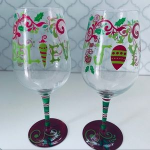 "2 Extra Large Holiday ""Believe""&""Joy"" Wine Glasses"